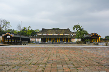 A building in Can Chanh Palace Courtyard in the Imperial City, Hue, Vietnam