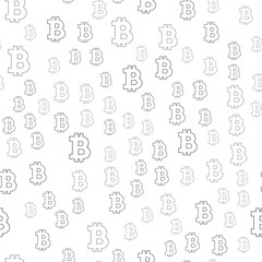 Seamless pattern sign Bitcoin. Black on a white background.
