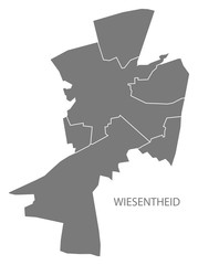 Wiesentheid village map grey illustration silhouette shape