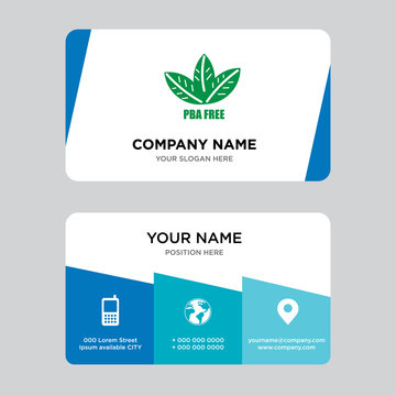 bpa free business card design template, Visiting for your company, Modern Creative and Clean identity Card Vector Illustration