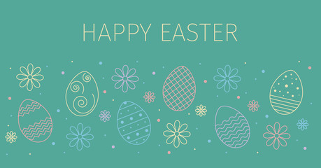 Easter sale banner background template with spring flowers and eggs. Vector illustration.