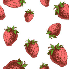 Strawberries seamless pattern. Hand drawn sketch style ripe fruits and berries vector illustration. Ideal for party designs, fruit markets and  vegan menu.