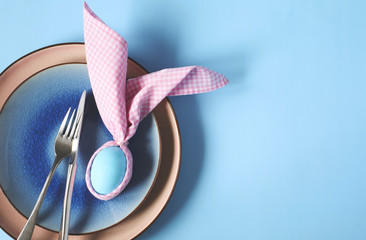 Spring Easter Table setting. Top view