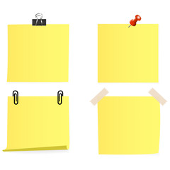 Clear list of color paper with pin, sticky tape, staple on a white background
