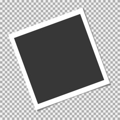 Set of photo frame with shadow on isolate background. Vector template for your trendy photo or image