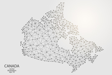 A map of Canada consisting of 3D triangles, lines, points, and connections. Vector illustration of the EPS 10.