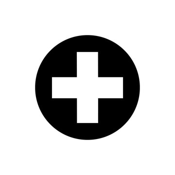 Isolated medical cross icon on white background. Flat black medical cross icon for use in variety of projects. Monochrome vector medical cross icon for web sites and apps.