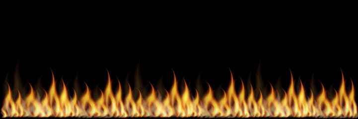 Vector illustration of realistic colorful image line bonfire flame on black background.