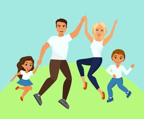 Vector illustration of Joyful family jumping. Happy and smiling dad mom daughter and son holding hands jumped in cartoon flat design.