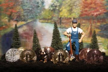 Bitcoin Farm - digitale Währungen, Fiatgeld, Kryptowährungen. Was bringt die Zukunft? Hintergrund bunt