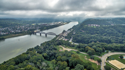 Highland Park Bridge Pittsburgh PA with clouds rolling in