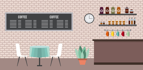 coffee shop interior table chairs menu clock cups vector illustration