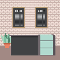 coffee shop interior bar counter menu list and potted plant vector illustration