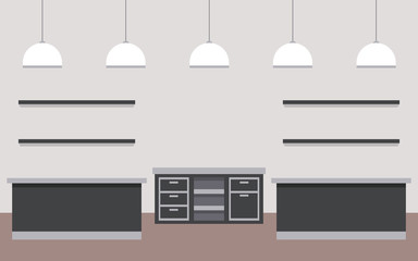 coffee shop interior front view furniture cabinets lamps vector illustration
