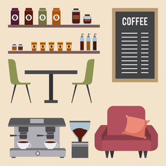 coffee shop interior sofa machine table chairs menu board vector illustration