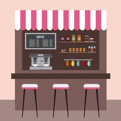 coffee shop interior restaurant room beverage vector illustration