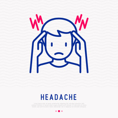Headache, migraine thin line icon: man touches his head with his hands. Modern vector illustration.