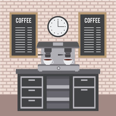 coffee shop interior furniture machine espresso beverage menu and clock vector illustration