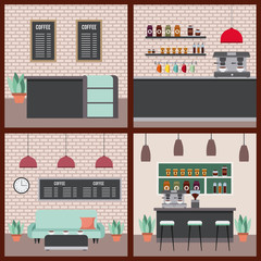 coffee shop interior set differents scenary vector illustration