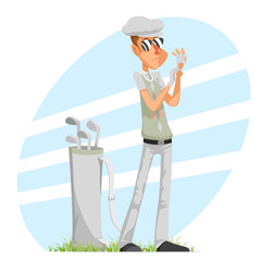Cool professional golfer player adjusts glove champion golf club isolated cartoon character design vector illustration