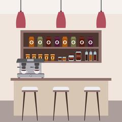 coffee shop interior bar counter stools machine coffee shelf vector illustration