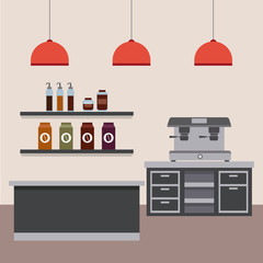 coffee shop interior counter cabinet drawers shelf products lamps vector illustration