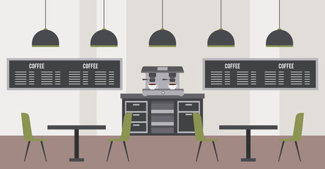 coffee shop interior modern restaurant tables chairs boards machine and lamps vector illustration