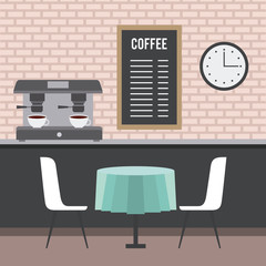 coffee shop interior furniture space vector illustration