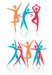 Fitness dance women icons.