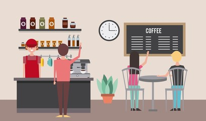 people coffee shop barista behind counter - customer sitting in chairs vector illustration