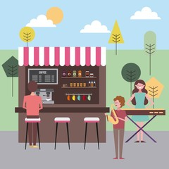 people coffee shop in the park musician with saxophone vector illustration
