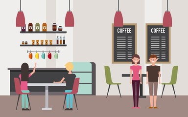 coffee shop interior with people customer vector illustration