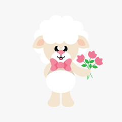 cartoon cute sheep with tie and flowers
