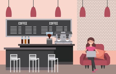 coffee shop interior young woman sit in sofa laptop vector illustration