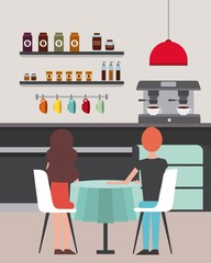 coffee shop couple sitting in chairs table vector illustration
