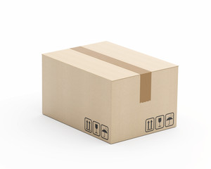 Karton mittlerer Größe - geschlossen - freigestellt - von links - hoher Standpunkt