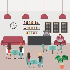 coffee shop people eating waiting in sofa working vector illustration