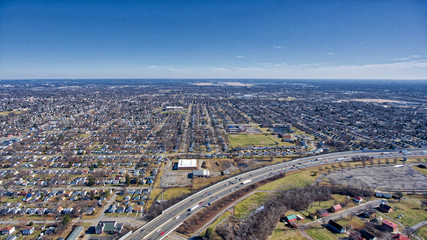 Suburban Columbus Ohio with highway