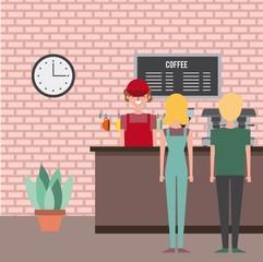 coffee shop employee service customer couple vector illustration