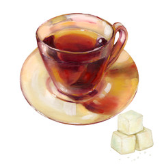 Hand-drawn illustration. Fragrant black tea in a transparent cup and refined sugar