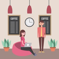 young woman using laptop and man in coffee shop vector illustration