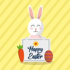 happy rabbit with balloons confetti decoration vector illustration