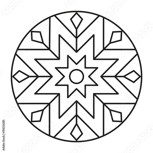 Simple Mandala Shape for Coloring  Geometric Ornament
