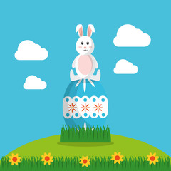 happy easter rabbit sitting on blue egg decoration vector illustration