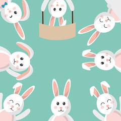 easter bunny cartoon character background vector illustration