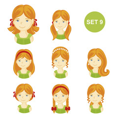 Cute ginger little girls with various hair style. Set of children's faces. Vector illustration.