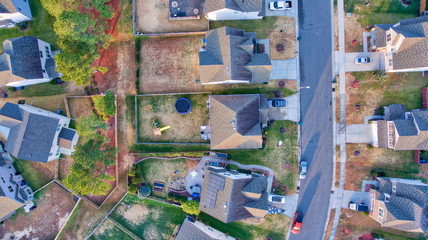 Looking down on houses in Durham North Carolina