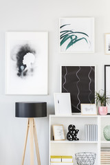 Paintings and lamp