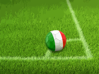 Soccer football with Italian flag
