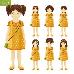 Collection of cute little girls with different hairstyles. Full-length portrait. Set of cartoon characters. Vector illustration.